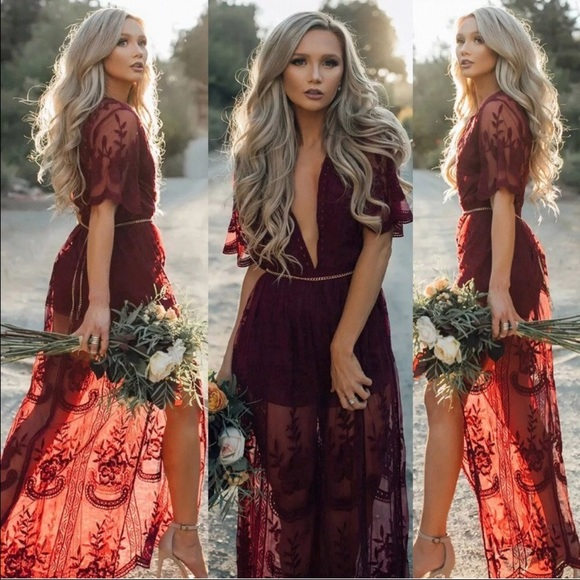 d98bd88b88 Dresses | Wine Red Chain Lace Flowy Side Slit Maxi Dress | Poshmark